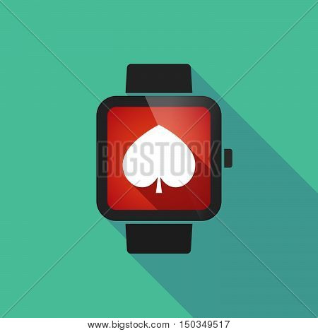 Long Shadow Smart Watch With  The  Spade  Poker Playing Card Sign