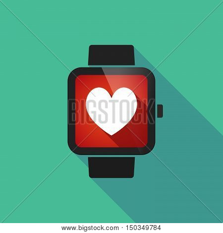 Long Shadow Smart Watch With  The Heart Poker Playing Card Sign