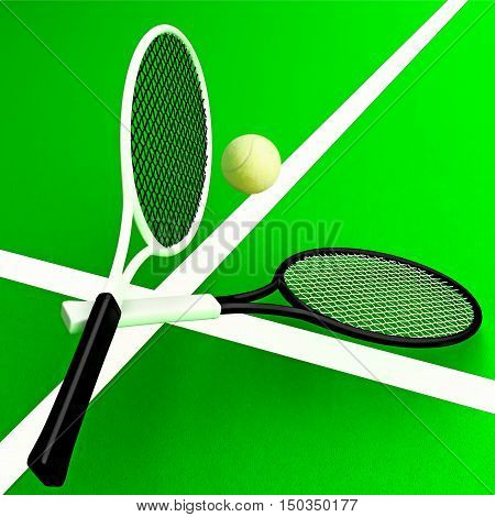 Tennis rackets and tennis ball against the background of the tennis court. 3D illustration