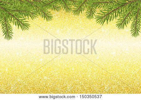 Gold glitter shine striped backdrop texture with christmas twig. Vector background for website or print.