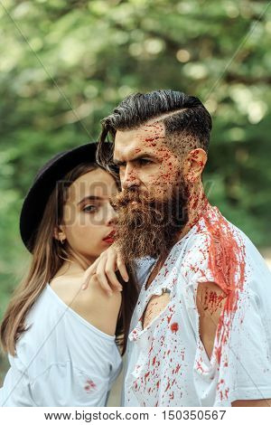 Halloween Couple With Blood