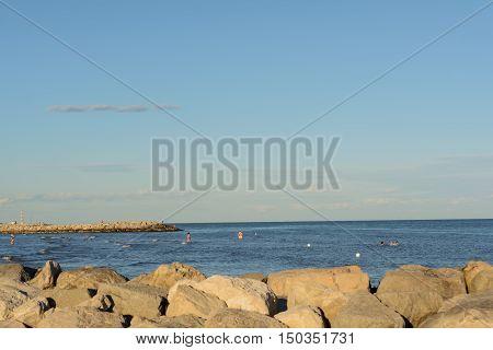 Tourists on the Italian Adriatic - clean coast