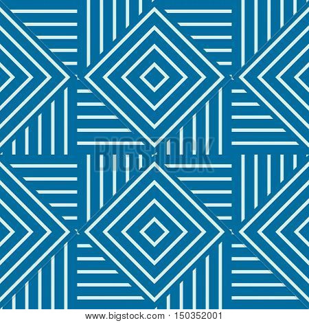 Vector abstract seamless composition best for use as wrapping paper symmetric ornate background created with simple geometric shapes squares and rhombuses.