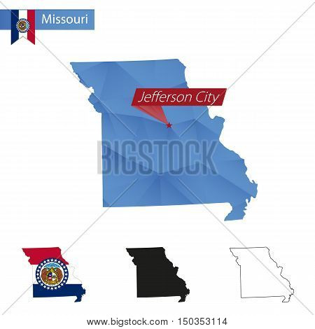 State Of Missouri Blue Low Poly Map With Capital Jefferson City.