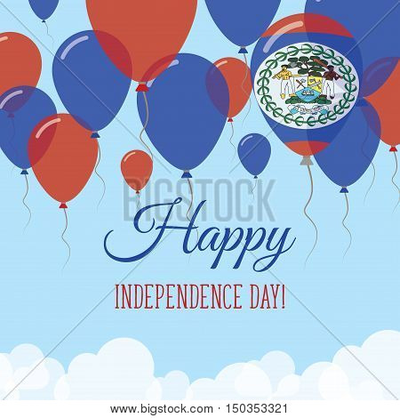 Belize Independence Day Flat Greeting Card. Flying Rubber Balloons In Colors Of The Belizean Flag. H