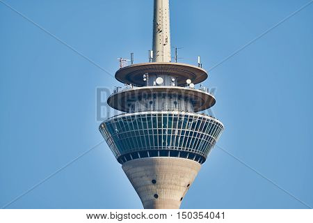 DUESSELDORF, GERMANY - SEPTEMBER 14, 2016: The TV tower hosts a rotating restaurant