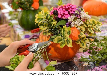 Florist designed colorful autumn flower arrangement - close-up