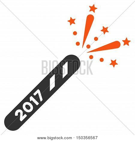 2017 Firecracker vector pictogram. Style is flat graphic symbol, orange and gray colors, white background.