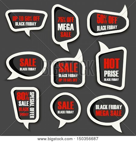Black Friday Sale badges and labels banner offer vector. Vector illustration black friday advertising promotion business concept. Price tag banner offer black friday label poster design
