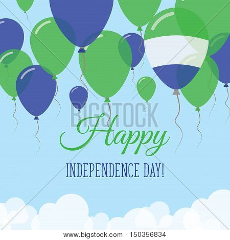 Sierra Leone Independence Day Flat Greeting Card. Flying Rubber Balloons In Colors Of The Sierra Leo