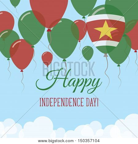 Suriname Independence Day Flat Greeting Card. Flying Rubber Balloons In Colors Of The Surinamer Flag