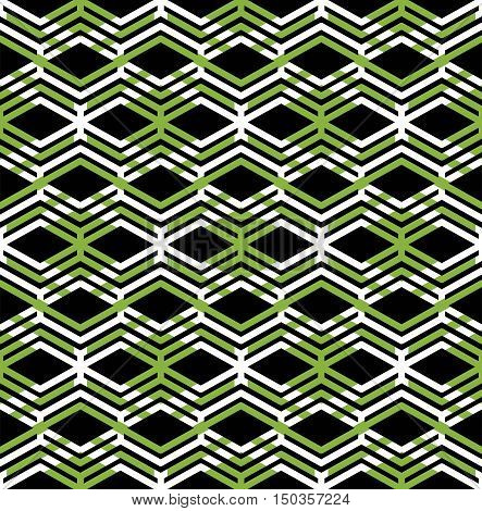 Green abstract seamless pattern with interweave lines. Vector ornament background visual effect geometric tracery with zigzag lines rhombs.