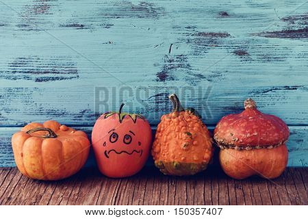 an apple disguised as a pumpkin with a funny face trying to go unnoticed between different real pumpkins, on a rustic wooden surface, against a blue wooden background