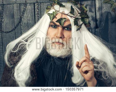 Mythology ancient Greece. Zeus god or jupiter with vine crown.
