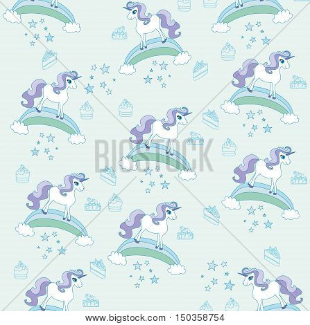 cute unicorn pattern abstract card , vector illustration