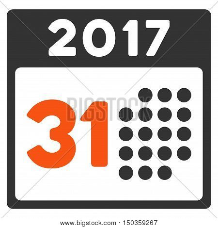 Last 2017 Month Day vector pictograph. Style is flat graphic symbol, orange and gray colors, white background.