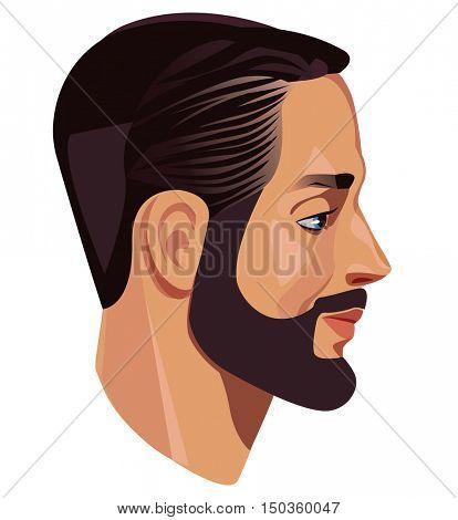man's head in profile, men face, side view, face in profile, bearded man