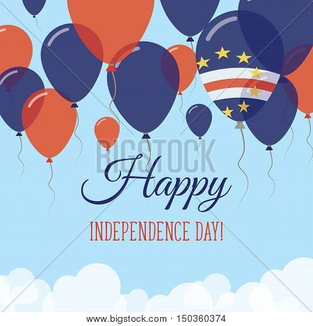 Cape Verde Independence Day Flat Greeting Card. Flying Rubber Balloons In Colors Of The Cape Verdian