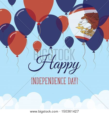 American Samoa Independence Day Flat Greeting Card. Flying Rubber Balloons In Colors Of The American