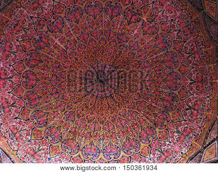 Mosaic ceiling of Nasir ol Molk Mosque in Shiraz Iran