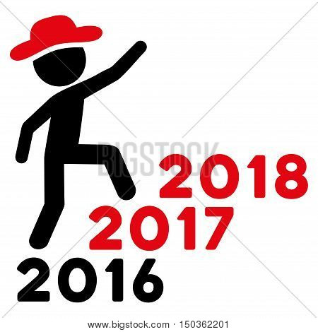 Gentleman Steps Years vector pictogram. Style is flat graphic symbol, intensive red and black colors, white background.