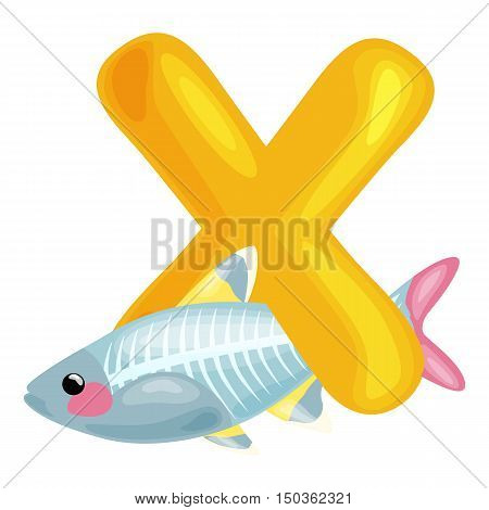animal x-rayfish and letter X for kids abc education in preschool.Cute animals letters english alphabet. Cartoon animals alphabet for learning letters vector illustration. Single letter with wild animal x-rayfish