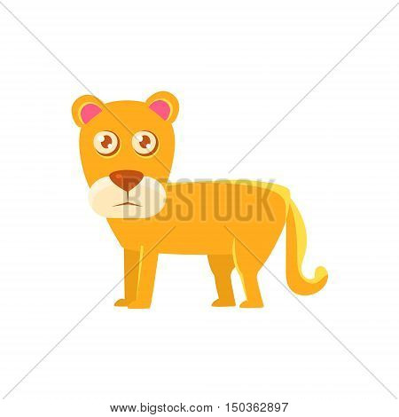 Lioness Toy Exotic Animal Drawing. Silly Childish Illustration Isolated On White Background. Funny Animal Colorful Vector Sticker.
