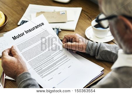 Motor Insurance Legal Claim Contract Documents Concept