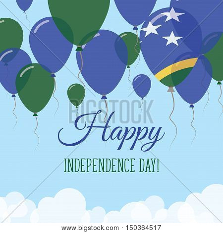 Solomon Islands Independence Day Flat Greeting Card. Flying Rubber Balloons In Colors Of The Solomon