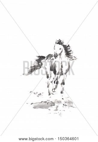 Running horse Japanese style original sumi-e ink painting. Great wall art, greeting cards, or texture design.