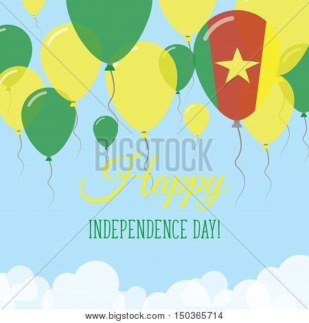 Cameroon Independence Day Flat Greeting Card. Flying Rubber Balloons In Colors Of The Cameroonian Fl