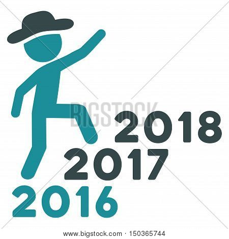 Gentleman Steps Years vector pictogram. Style is flat graphic symbol, soft blue colors, white background.