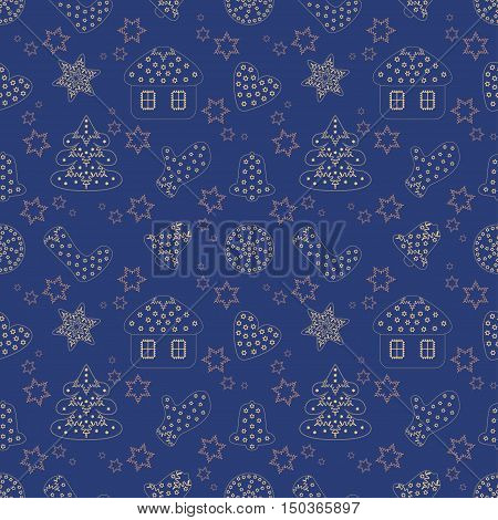 Cute seamless vector pattern illustration. Christmas and Happy New Year decoration symbol concept. Many repeating decorated golden silhouettes on the blue background