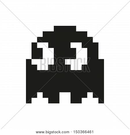 Ghosts monster racing. Arcade game icon. Retro game design. Icon Created For Mobile Web Decor Print Products Applications. Black icon set isolated on white background. Vector illustration.