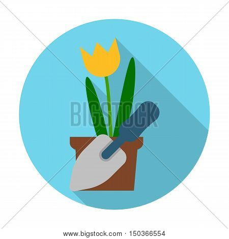 flower, blade flat icon with long shadow for web design