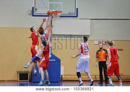 MOSCOW, RUSSIA - DECEMBER 12, 2015: Game moment in basketball match at the indoor stadium betwen CSKA and Labor Reserves teams.
