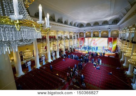MOSCOW, RUSSIA - APR 23, 2016: Union House column hall with journalists and members of A Just Russia political party after meeting at 8th congress.