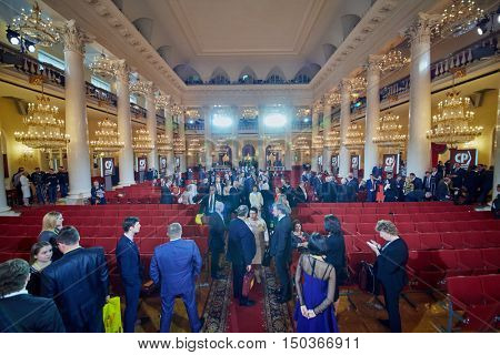MOSCOW, RUSSIA - APR 23, 2016: Journalists and members of A Just Russia political party after meeting at 8th congress in Union House column hall.