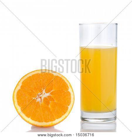 orange juice and orange isolated on white