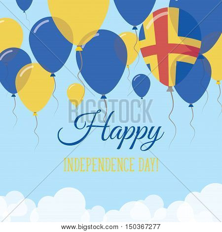 Aland Islands Independence Day Flat Greeting Card. Flying Rubber Balloons In Colors Of The Swedish F