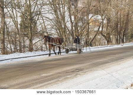 VOROKHTA UKRAINE - JANURAY 24 2016: A man on a wagon ride pulled by draft horse
