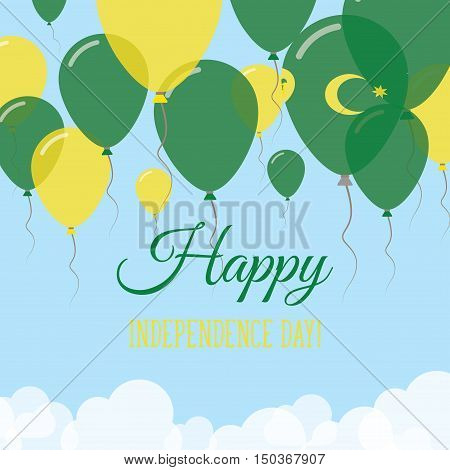Cocos (keeling) Islands Independence Day Flat Greeting Card. Flying Rubber Balloons In Colors Of The