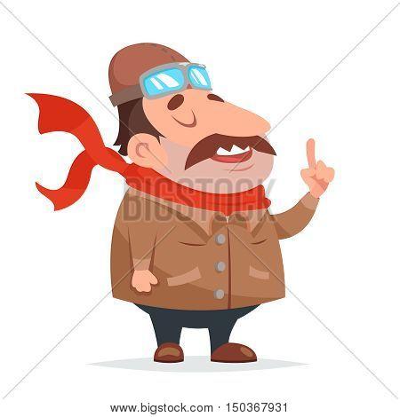 Thick Aviator Pilot Mascot Character Icon Retro Cartoon Vector Illustration