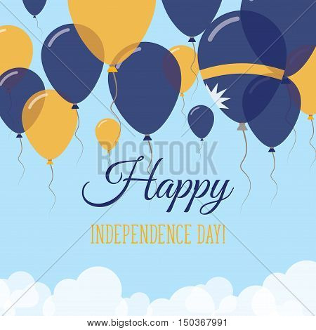 Nauru Independence Day Flat Greeting Card. Flying Rubber Balloons In Colors Of The Nauruan Flag. Hap