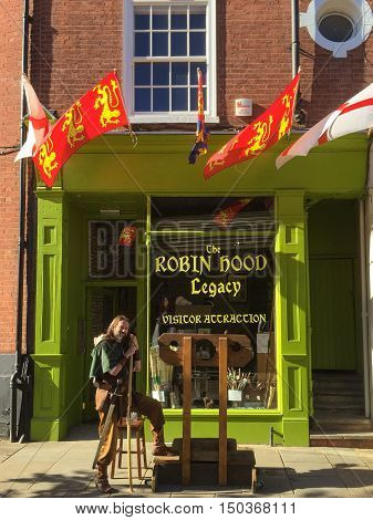 NOTTINGHAM ENGLAND - OCTOBER 3: Man dressed as Robin Hood outside 'The Robin Hood Legacy' visitor attraction. In Nottingham England. On 3rd October 2016.