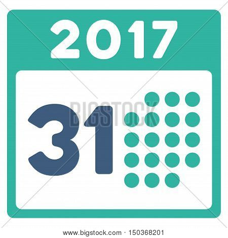 Last 2017 Month Day vector icon. Style is flat graphic symbol, cobalt and cyan colors, white background.