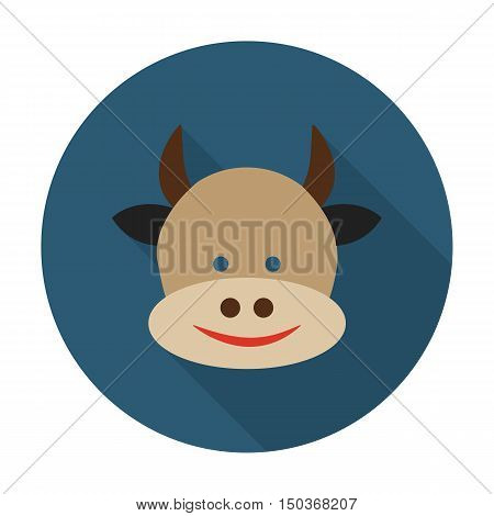 cow flat icon with long shadow for web design