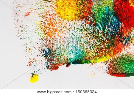 Abstract vibrant acrylic art background. Multicolor light and bright texture. Fragment of artwork. Spots of acrylic paint. Modern contemporary art.