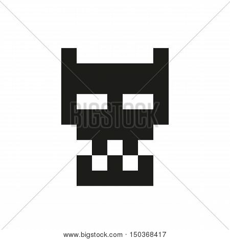 cheerful and kind pixel monster Icon Created For Mobile Web Decor Print Products Applications. Black icon set isolated on white background. Vector illustration.