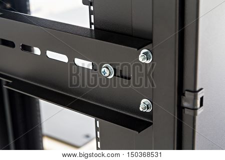 Close up of computer server rack in data center